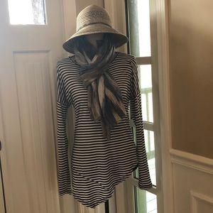 CAbi Asymmetrical Hem Striped Top